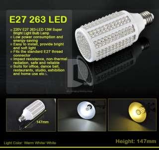 220V E27 263 LED 13W Super Bright White/Warm White Light Bulb Lamp