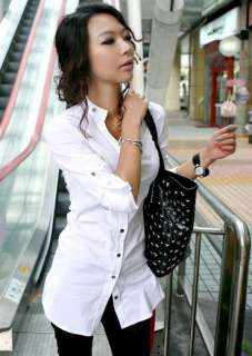 new quality nice office lady girl slim dress shirt w/buttons two color