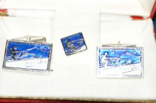 VTG Cufflinks Blue ENAMEL SNO JET Set with Tie Tac Sporting Brand Ski