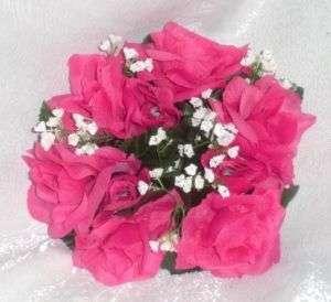 ~ Watermelon HOT PINK FUCHSIA Silk Wedding Flowers Decoration