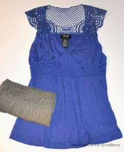 FYLO NY Womens Sleeveles Lace Shirt Top V Neck Blue Green NEW + Sizes
