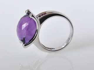 Gadi 18K White Gold Amethyst Ruby Diamond Ring