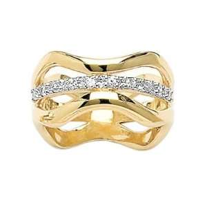 Gold Plated Clear Cubic Zirconia Wave Lace cut out Band Ring Jewelry