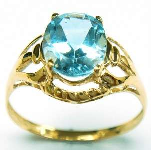 CLASSIC 10KT YELLOW GOLD OVAL CUT BLUE TOPAZ RING #6.75