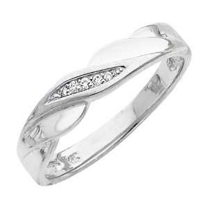 14K White Gold Mens Round cut Diamond Wedding Ring Band (0.05 CTW., G