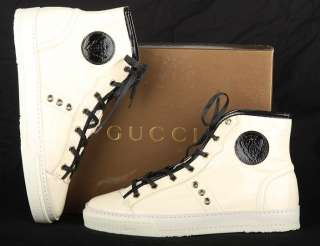 NEW GUCCI LADIES HIGH TOP PATENT LEATHER ANKLE BOOTS SHOES SNEAKERS 40