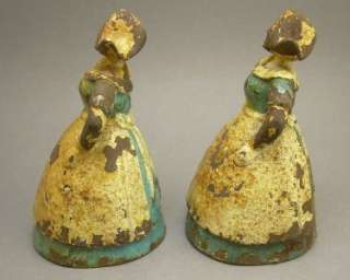 Pair of Antique Vintage Painted Cast Iron Dutch Girl Lady Bookends