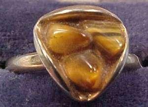 Vintage TIGER EYE & GOLDTONE ADJUSTABLE RING Nickel silver?