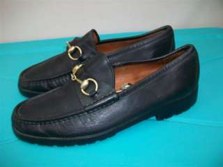 Vtg. GUCCI HORSE BIT BLACK LEATHER MEN RUGGED Shoes size 10 d