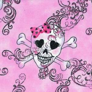 GLAM SKULLS ON PINK WITH GLITTER~ Cotton Quilt Fabric