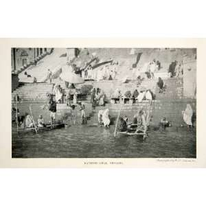 1905 Print Bathing Ghat Benares India River Ganges Stairs