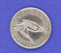 1942 SIX PENCE SILVER COIN  NEW ZEALAND
