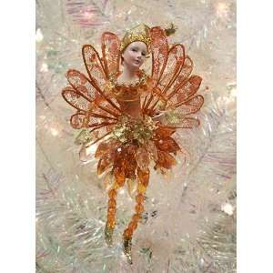 Amber & Gold Glittered & Beaded Fairy Pixie Christmas Ornament
