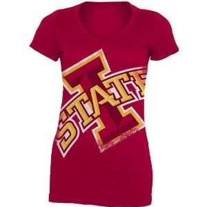 NCAA Iowa State Cyclones Gigantor Ladies V Neck Tee Shirt