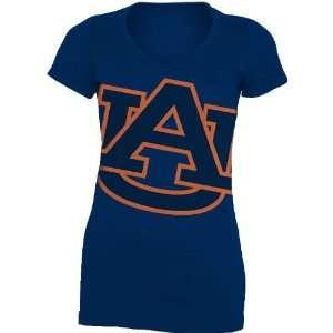 NCAA Auburn Tigers Gigantor Ladies V Neck Tee Shirt