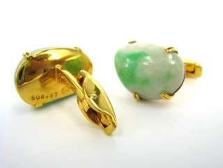 Designer Natural White & Green Jadeite Jade 18K Yellow Gold Cufflinks