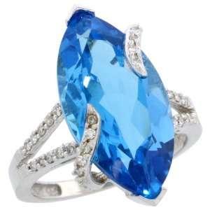 14k White Gold Stone Ring, w/ 0.20 Carat Brilliant Cut Diamonds & 6.67