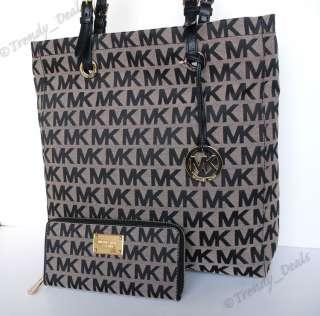 Michael Kors Signature Item Tote Handbag Bag + Continental Jet Set