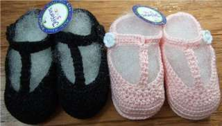 Darling hand crocheted baby t strap crib shoes   NB size