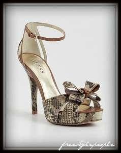 New GUESS Snake Skin Print SABRILLE Platform Peep Toe Bow Pumps Shoes