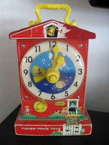 1968 Fisher Price Wooden Music Box Teaching Clock