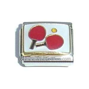 Ping Pong Paddles Italian Charm Bracelet Jewelry Link