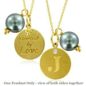 Natural Diamond Initial J, LOVE LETTERS Pendant Pearl Charm in 18k