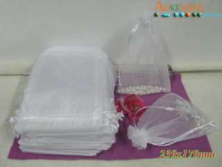 Wedding Favor Gift Large Bags White Organza 7x9 XCA6