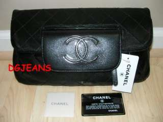 2DIE4 NEW CHANEL 11A BLACK QUILTED LAMBSKIN LEATHER CLUTCH BAG LARGE