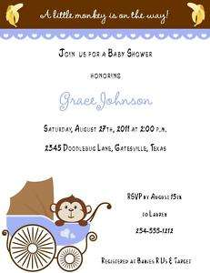 24 Baby Monkey in Carriage Baby Shower Invitations