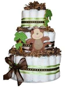 NEW Brown and Green Monkey Jungle Themed Diaper Cake Baby Shower
