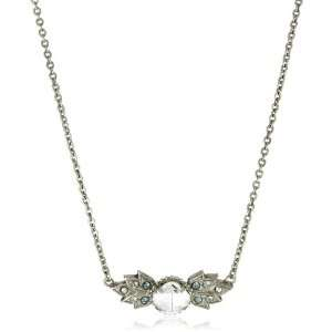 Sorrelli Pewter Crystal Angel Wings Silver Tone Necklace