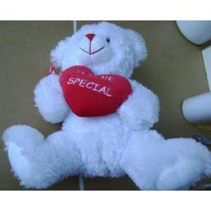 Fluffy White Teddy Bear Stuffed Animal Plush Toy   Holding