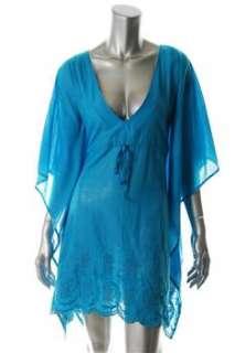 FAMOUS CATALOG Moda Caftan Blue Casual Dress BHFO Eyelet S |