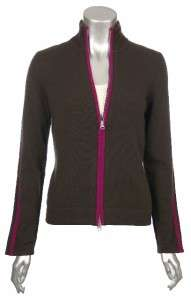Sutton Studio Womens All Cashmere Zipper Jacket Sweater