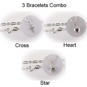 Three 925 Sterling Silver Cross, Heart, Star Charm Bracelets   Set of