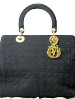 AUTH. BLACK CHRISTIAN DIOR LADY CANNAGE QUILTED BAG GOLD CHARM CD