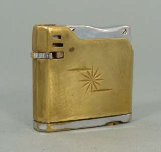 EARLY VINTAGE BRASS CHROME MINUET GAS CIGARETTE LIGHTER