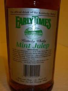 EARLY TIMES KENTUCKY DERBY WHISKY MINT JULEP DISCONTINUED 1988 BOTTLE