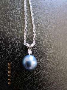 NA HOKU 14K White Gold Akoya Pearl Pendant & Diamond Necklace
