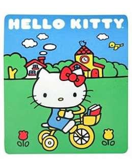 HELLO KITTY~ YELLOW BIKE SOFT FLEECE THROW BLANKET