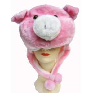 Plush Pink Pig Animal Hat   Pink Pig Hat with Ear Flaps