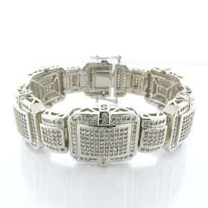 Mens Iced Out Hip Hop White Gold Plated 24mm 9 Lab Diamond Micro
