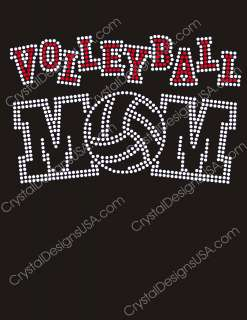 VOLLEYBALL MOM #2 hot fix iron on transfer Rhinestones Applique   Made