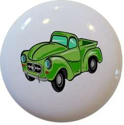 Green HOT ROD Truck CABINET DRAWER Pull KNOB Ceramic