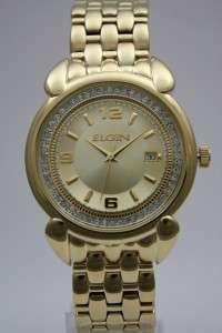 New Elgin Gold Austrian Crystals Date Men Watch FG560  39mm