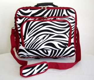 16 Computer/Laptop Briefcase Rolling Padded Case Wheel Bag Red Zebra
