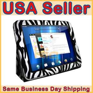 Leather Case Cover Skin for HP Touchpad METALLIC ZEBRA + Screen