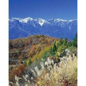 Mountain Range and Autumn Foliage, Hakuma Miyama, Nagano