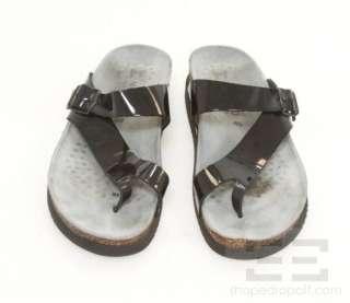Mephisto Black Patent Leather Flat Sandals Size 40